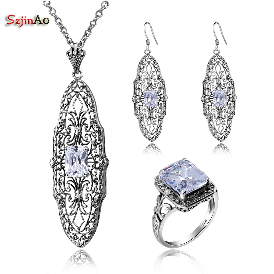 Szjinao Victorian Vintage 925 Sterling Silver Created Cubic Zirconia Jewelry Sets For Women Earrings/Pendant/Rings Free Gift BoxSzjinao Victorian Vintage 925 Sterling Silver Created Cubic Zirconia Jewelry Sets For Women Earrings/Pendant/Rings Free Gift Box
