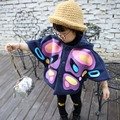 2016 Autumn Baby Girls Clothes Butterfly Printed Bat Girls Jackets Single-breasted Hooded cloak Girls Cape Coat Children Outwear
