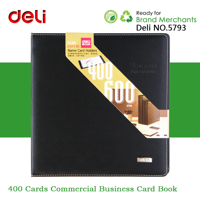 Deli No5793 400 Cards Large Leather Surface Commercial Business