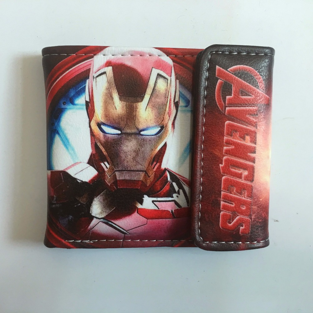 2018 Leather Purses Wallet Marvel The Avengers Iron Man hulk Anime Wallet Bags Credit Card ID Holder Women Wallet For Boy W1152J new comics dc marvel slim wallet the avengers hulk iron man captain america purse logo credit oyster license card wallet