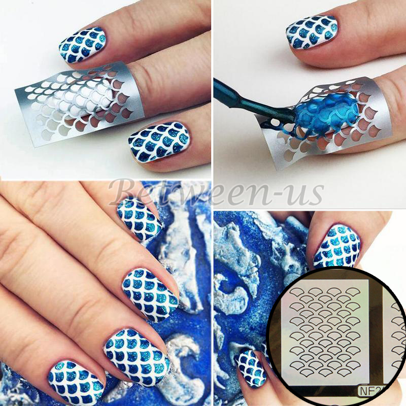 9 Tips/Sheet Multiple Use Nail Art Stencil Stickers Hollow Laser ...