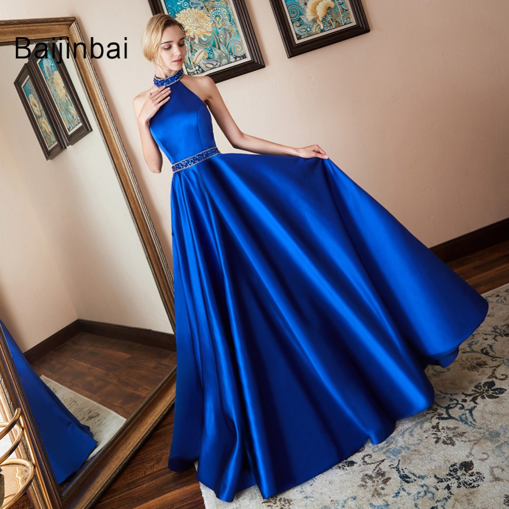 Baijinbai Robe De Soiree Luxury Blue Evening Dresses 2019 New Arrival 2 Pieces A Line Puffy
