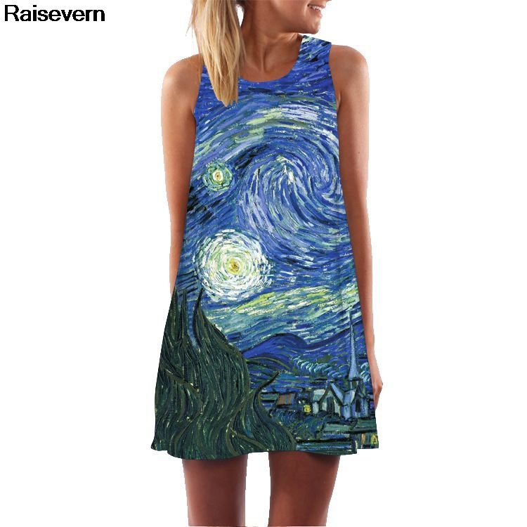 <font><b>New</b></font> Van Gogh Starry Night Summer <font><b>Dress</b></font> <font><b>2018</b></font> <font><b>Sexy</b></font> <font><b>Sleeveless</b></font> A Line Short Beach <font><b>Dress</b></font> Robe Vintage Boho <font><b>Style</b></font> Club Party <font><b>Dresses</b></font> image