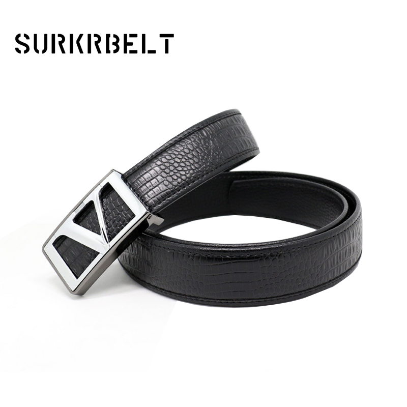V Designer Smooth Buckle Luxury Brand Belts for Mens Genuine Leather Male Casual Jeans Vintage Fashion Black Strap Waistband