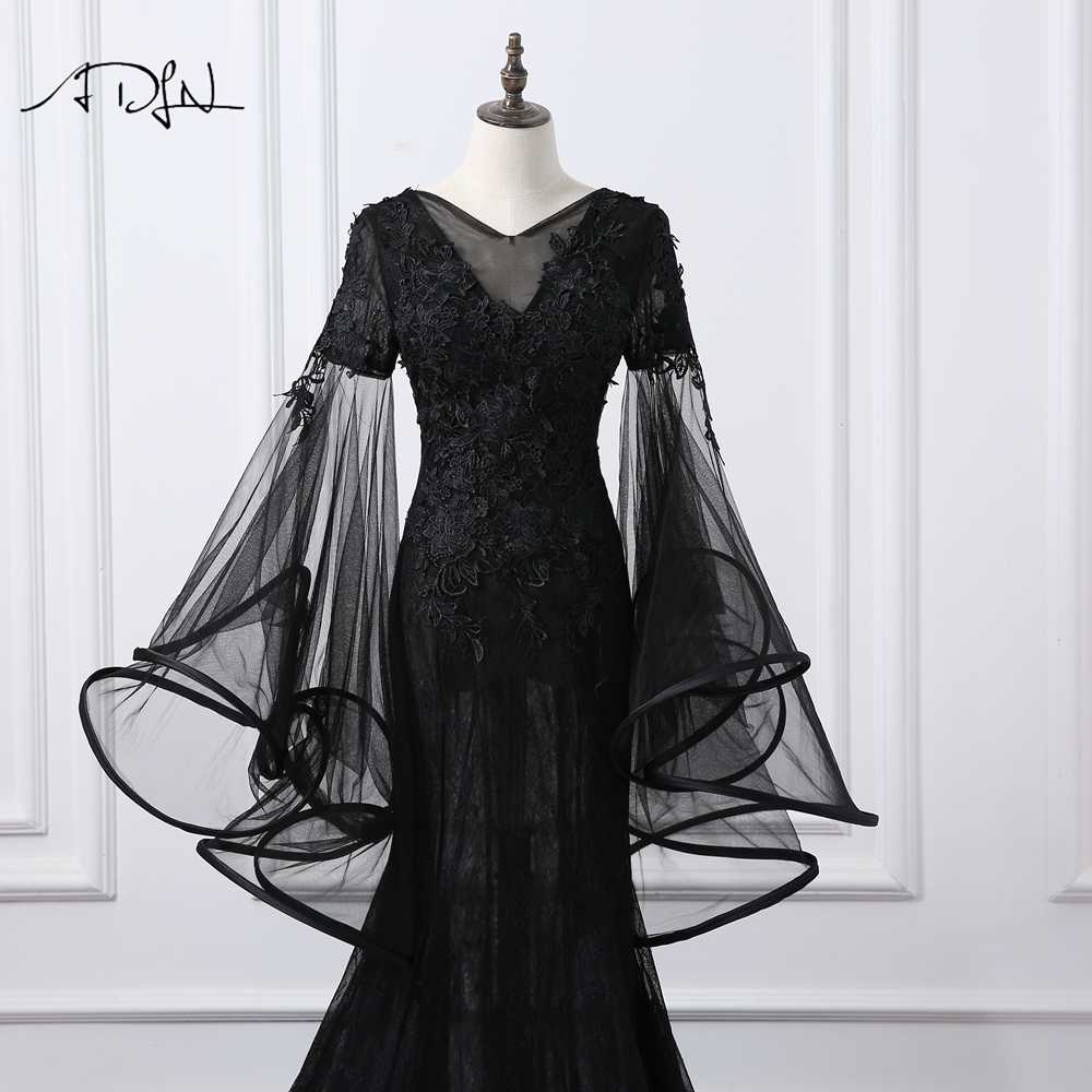 ... ADLN V-neck Flare Sleeve Mermaid Evening Dresses Long Black Prom Gown  Long Party Dress ... 8e5838901d4c