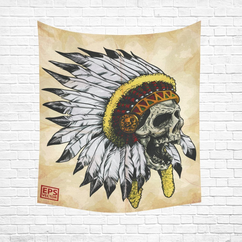 Skull And Feather Home Decor Tapestries Wall Art, Apache Skull Tapestry Wall Hanging Art Sets