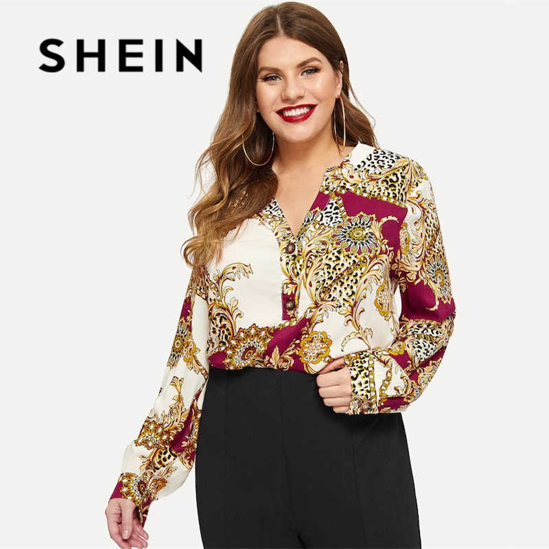 607f2fafb4 SHEIN Multicolor Plus Chain Print Buttoned Front Dip Hem V neck  Asymmetrical Top Spring Summer Long