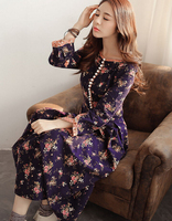 Free Shipping High Quality Spring Autumn New Arrival Retro Corduroy Flower Printed Woman Long Dress Purple