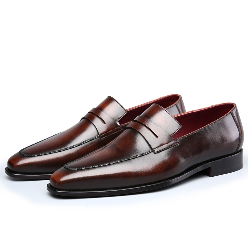 TERSE_Italian cowhide handmade leather loafers men shoes in burgundy/ iron grey/ coffee wedding shoes goodyear welted