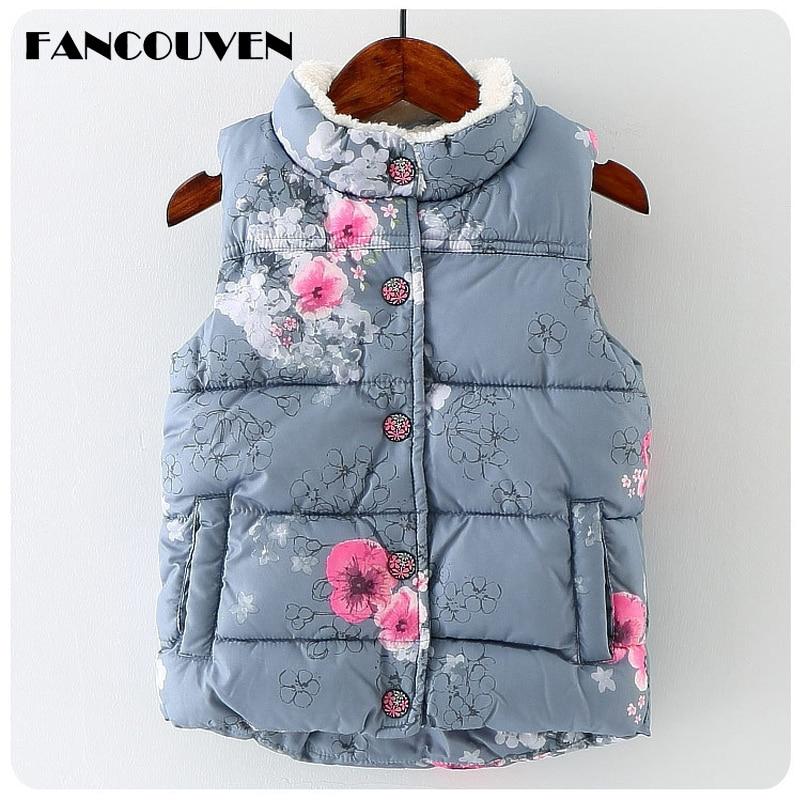 Girls Winter Turtleneck Thicken Vest Kids Floral Print Sleeveless Vest Children Clothes men abstract print plain vest