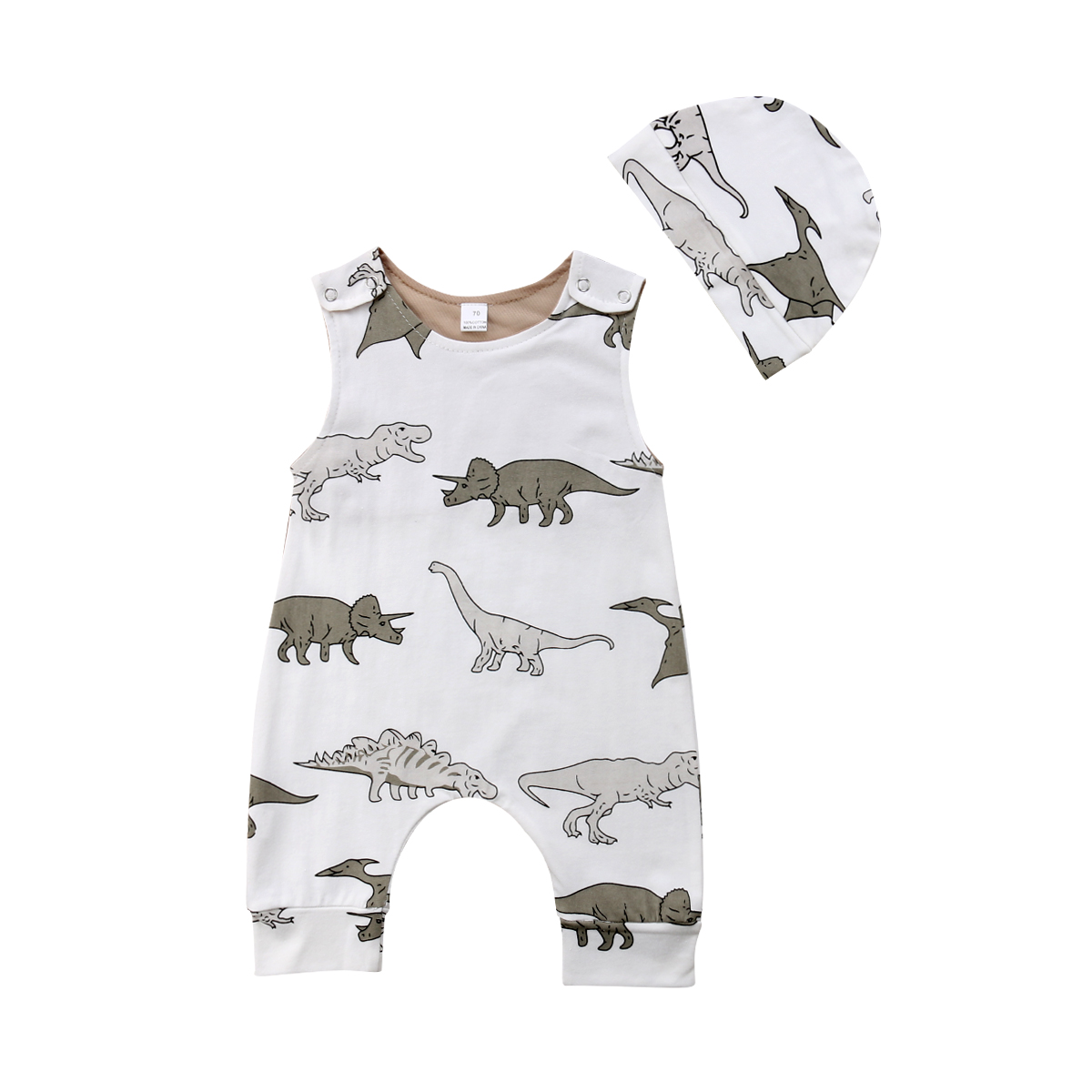 Baby Boy Girl Cotton Romper 2pcs Newborn Child Clothes Sleeveless Cute Outfits Dino Print Jumpsuit Playsuit Summer Casual New summer 2017 baby kids girl boy infant summer sleeveless romper harlan jumpsuit clothes outfits 0 24m
