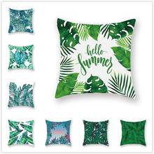 Tropical Plants Cushion Cover Green Leaves Fresh Summer Soft Pillow Case Sofa Bed Living Room Decorative Accessories 45x45 Decor цены
