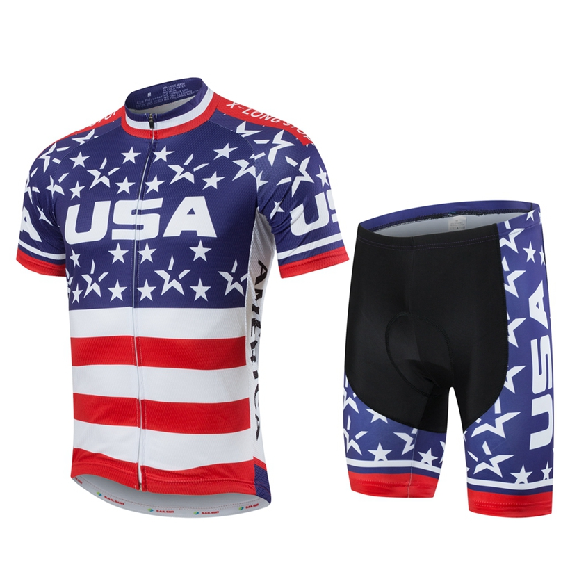 Men's USA mtb Bike Jersey suit Team Riding Cycling Jersey shorts set Sports Clothing Short Sleeve Bicycle Wear Ropa Ciclismo life on track men s compression riding underwear set long sleeve suit workout bicycle clothing set
