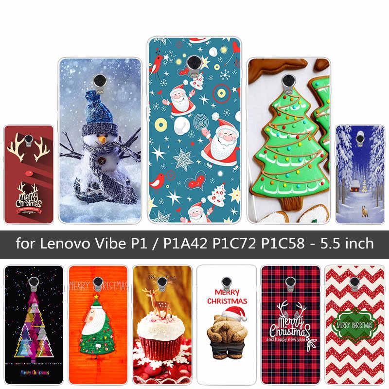 5.5 Cm untuk Lenovo VIBE P1 Silicon Ponsel Case Transparan TPU Selamat Natal Penutup Belakang Case untuk Lenovo VIBE P1 ponsel Baru Mencakup