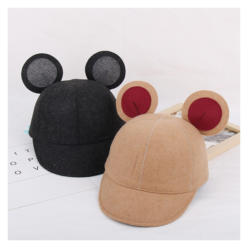 8fa52829fb3 Fashion Wool Felt Baseball Cap Mickey Ears Hat For Women Men Equestrian  Knight Autumn Winter Patchwork Fedora Hats-in Fedoras from Apparel  Accessories on ...