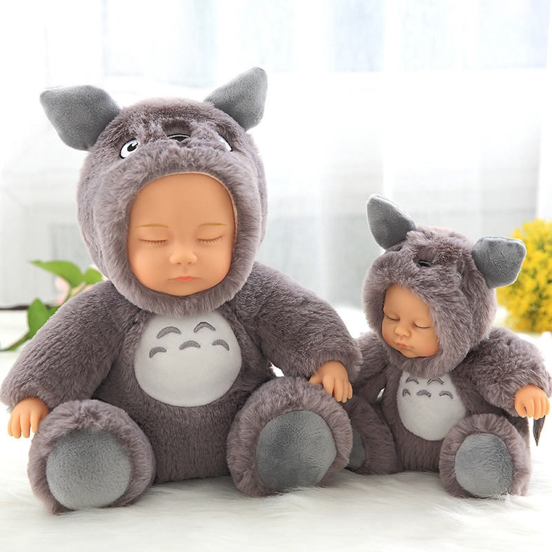 17cm 28cm hot toys doll reborn sleeping baby girl cosplay Japanese Anime Totoro suitting hello kitty baby girl toys for kids