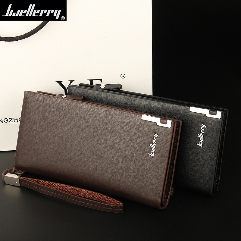 2018 Baellerry Business Men s Wallets Solid PU Leather Long Wallet Portable Cash Purses Casual Standard