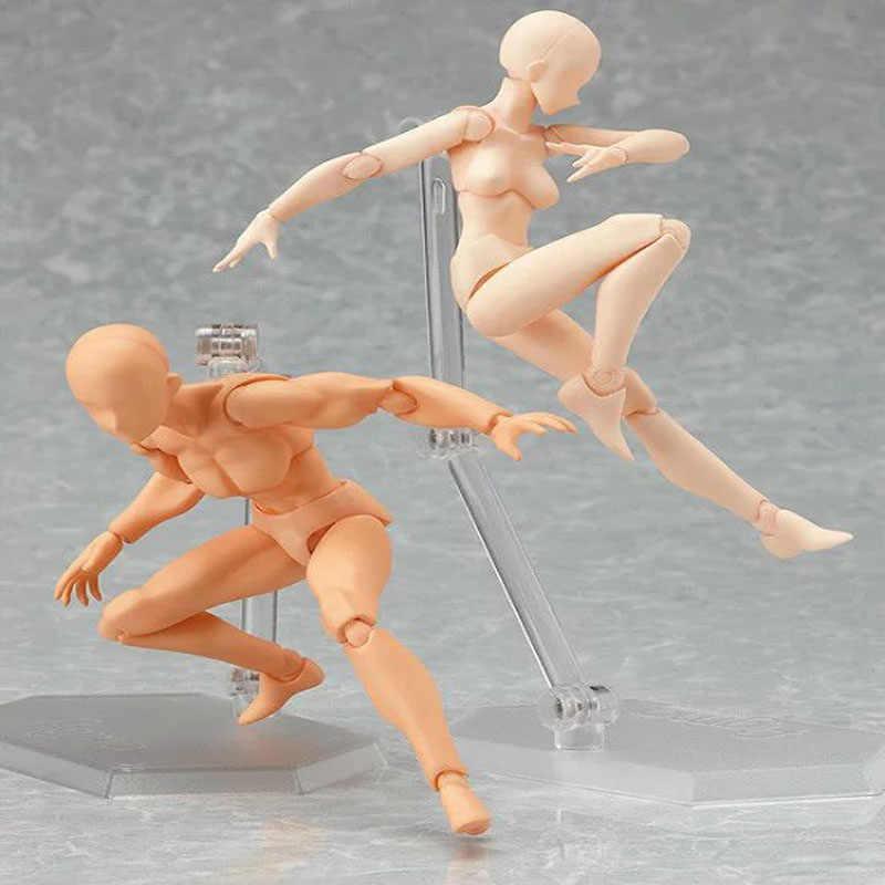 HOT Móveis Limbs Artista Masculino Feminino 14 cm figma conjunta corpo Figura de ação Brinquedos Modelo Manequim bjd Arte Draw Esboço Ação figuras