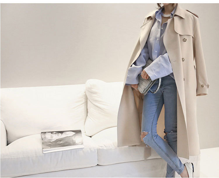 2019 Autumn Winter New Fashion Concise Solid Color Long sleeve Single breasted Slim Belted Trench Coat Vogue Women