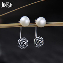 JINSE S925 Sterling Silver Earrings Natural Shell Pearl Eardrop Elegant Women Earrings Jewelry Fashion Gifts 8mm*24mm