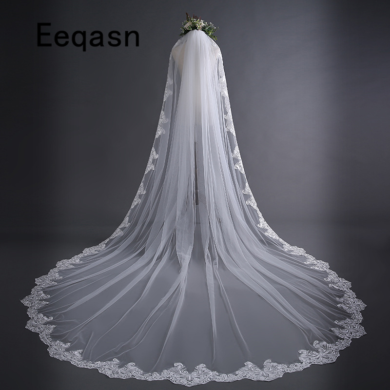New Ivory 3m Cathedral Wedding Veils Lace Edge One Layer Cheap Bridal Veil with Comb Wedding Accessories voile de mariee