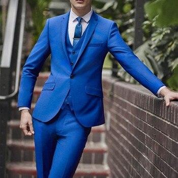 Latest Coat Pant Designs Royal Blue Custom Groom Best Man Tuxedo suit Wedding Men Suits Skinny 3 Pieces Terno Jacket+Vest+Pants