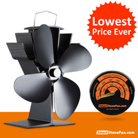220CFM 17 Fuel Costing Saving Heat Powered Stove Fan Aluminum Black Eco Stove Fan