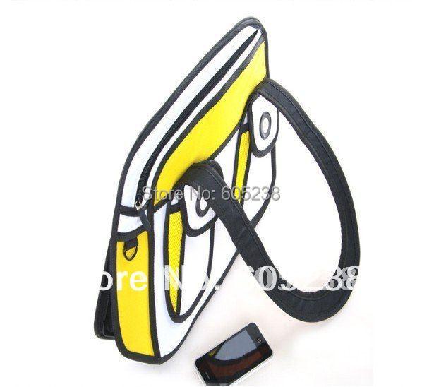 Free Shipping FASHION ( Blue and yellow ) 2012 Comic Cartoon 3D Shoulder Messenger Bag Gismo Cartoon Bag Yellow