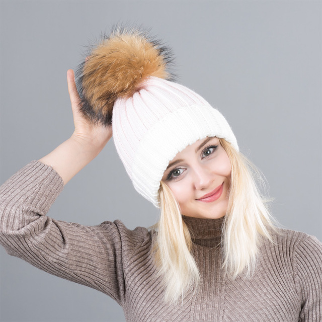 234b2047ec7 Winter knitted Cap For Women Pom Poms Ball Beanies Two Colors Knit Girl  s  Wool Hat