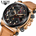 Uhren hombre LIGE Herren Uhren Top Brand Luxus Casual Sport Quarzuhr Männer Leder Military Luminous Wasserdichte Armbanduhr