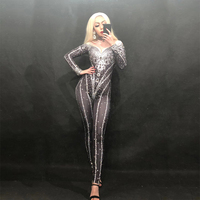 Алмазный сверкающие кристаллы черный женский сценический комбинезон диджея сцена для ночного клуба Одежда танцор певец наряд костюм для к