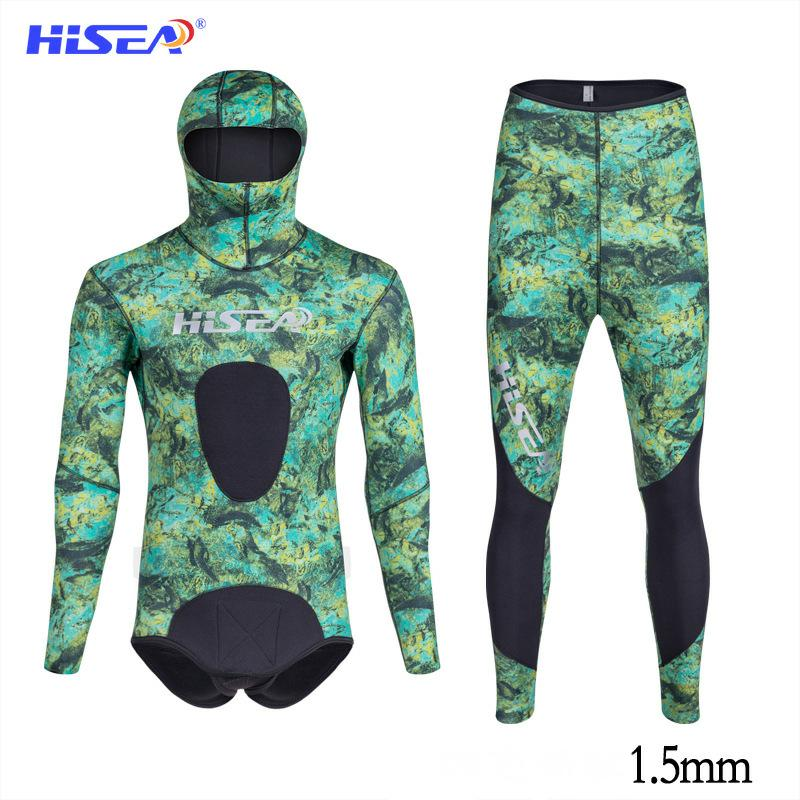 Hisea Men's Camouflage Wetsuits 1.5mm  CR Triathlon CR  Smooth Skin YAMAMOTO  Hunter Open Cell Smooth Skin Neoprene Diving Suit
