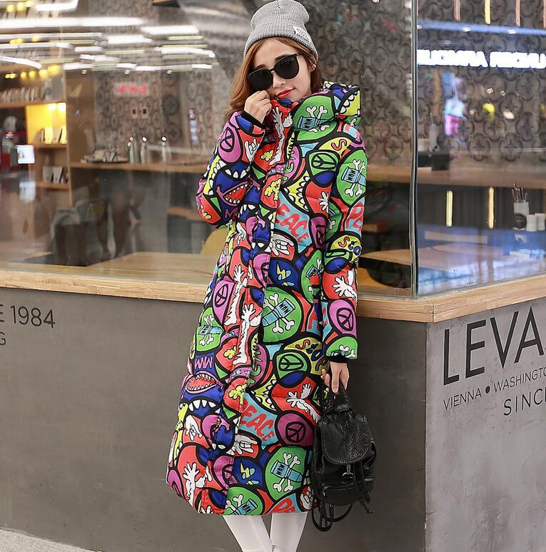 high quality winter jacket women Thicken down cotton coat female outerwear Hooded fashion printing slim plus size 4XL coat w413 bohochic original vintage ethnic embroidery women winter jacket thicken slim deep blue hooded cape down coat ar0067d boho chic