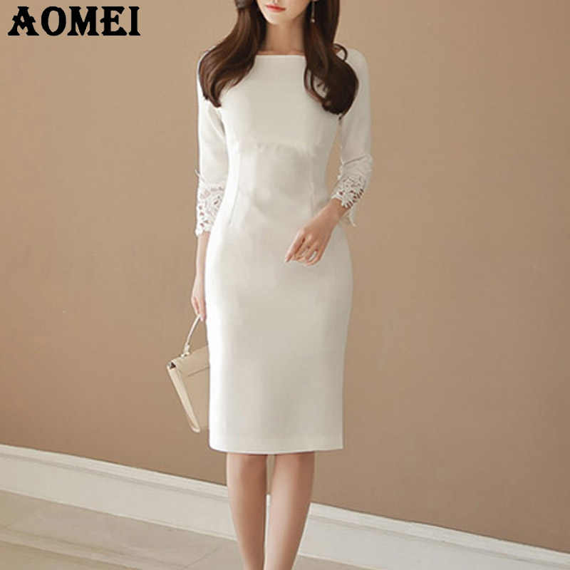 000ad93d37b Для женщин белые платья Тонкий скромные спецодежды кружева лоскутное Офисные  женские туфли шею Элегантный Женское платье