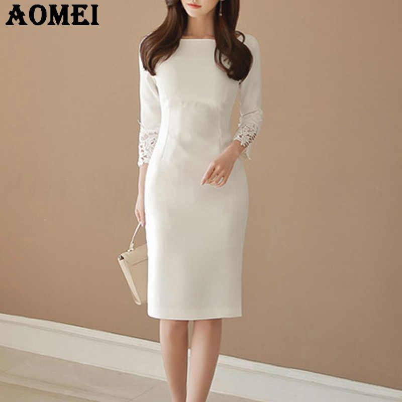 7fa676a55 Las mujeres vestidos Slim modesta ropa de encaje de dama de oficina cuello  redondo elegante vestido