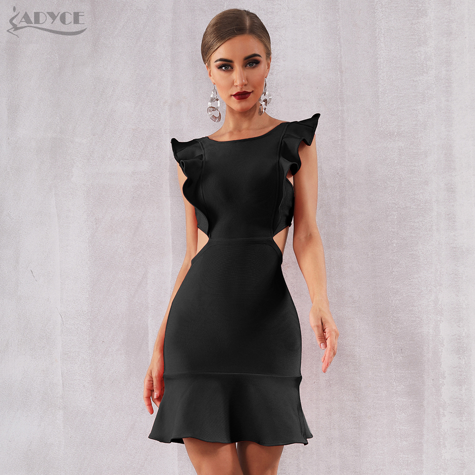 Adyce 2019 New Summer Arrival Women Red Bandage Dress Sexy Sleeveless Strapless Ruffles Mini Club Vestido Celebrity Party Dress