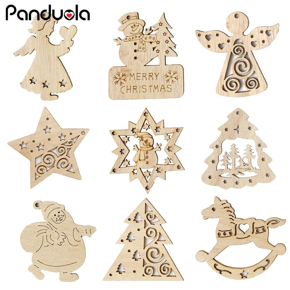 10PCS European Hollow Christmas Snowflakes Wooden Pendants Ornaments Xmas Tree Ornament Party Decorations Kids Gift