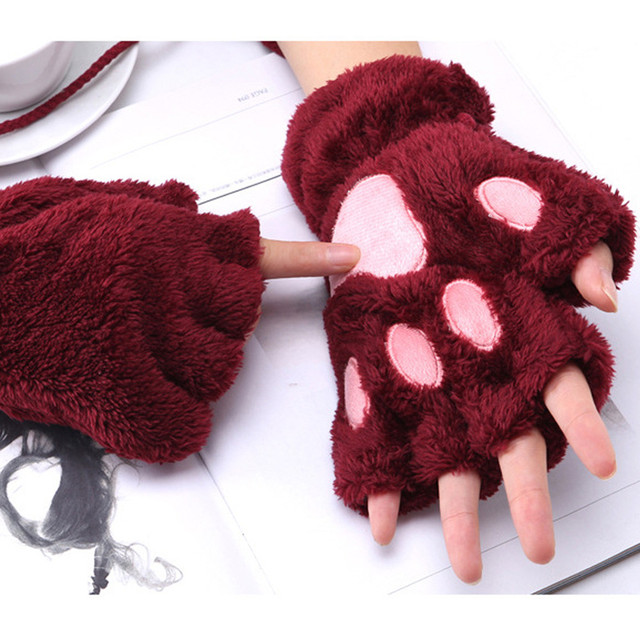 1 Pair Girls Lovely Fluffy Bear Cat Plush Paw Claw Half Finger Gloves 1