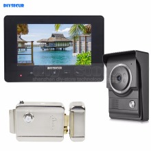 DIYSECUR 7inch Video Intercom Video Door Phone 700TV Line IR Night Vision HD Camera + Electric Lock for Home Office Factory