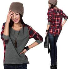 d7b3fac0b363 Womens Long Sleeve Round Neck Plaid Checked Casual Loose shirt Blouse Tops