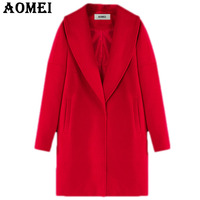 Women Red Wool Coat Long Sleeve Casual Woolen Winter Cape New Arrival Tops Outerwear Clothing Fall Workwear for Office Ladies