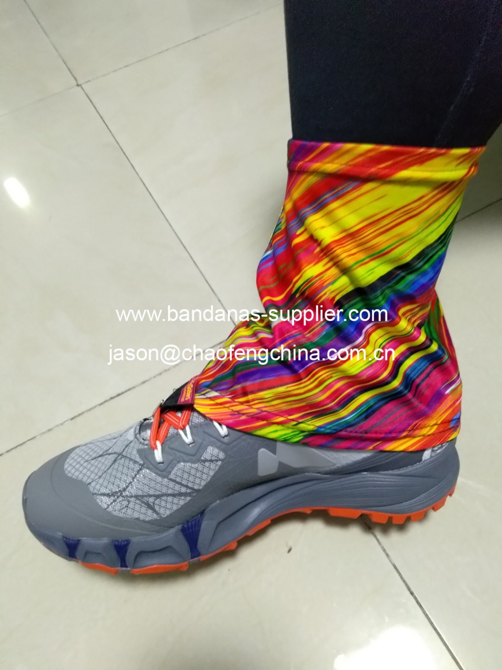 e4ffca388b0b Customise logo printed Trail boot Gaiter for you outdoor hiking ...