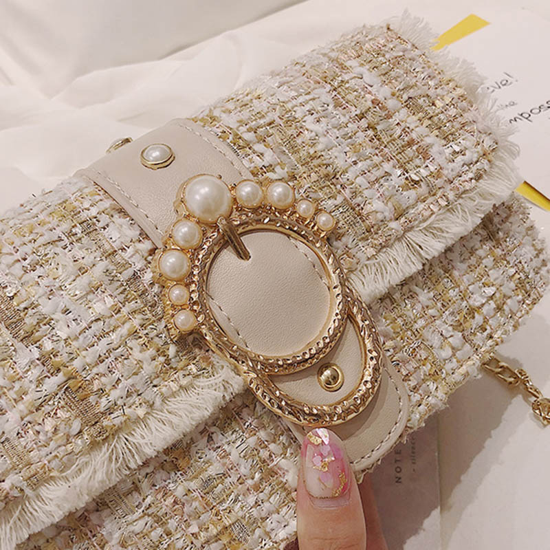 Fashion Women New Knit Flap Shoulder Bag INS Popular Casual Female Tassel Weave Handbag Mini Lady Pearl Chain Crossbody SS3458 (11)