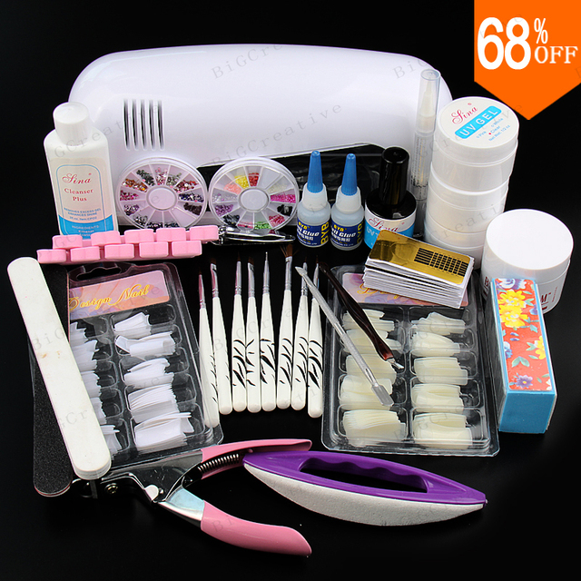 New Kit ! 12 Pure Color Nail Art UV Gel Solid Extension Manicure set + Builder Polish Lamp with brush + base coat + top coat