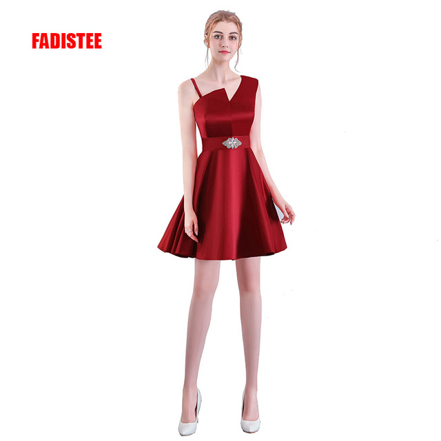 e015a9879 FADISTEE New arrival cocktail party Dresses short Vestido de Festa mini  sexy one-shoulder crystal sashes Burgundy dress