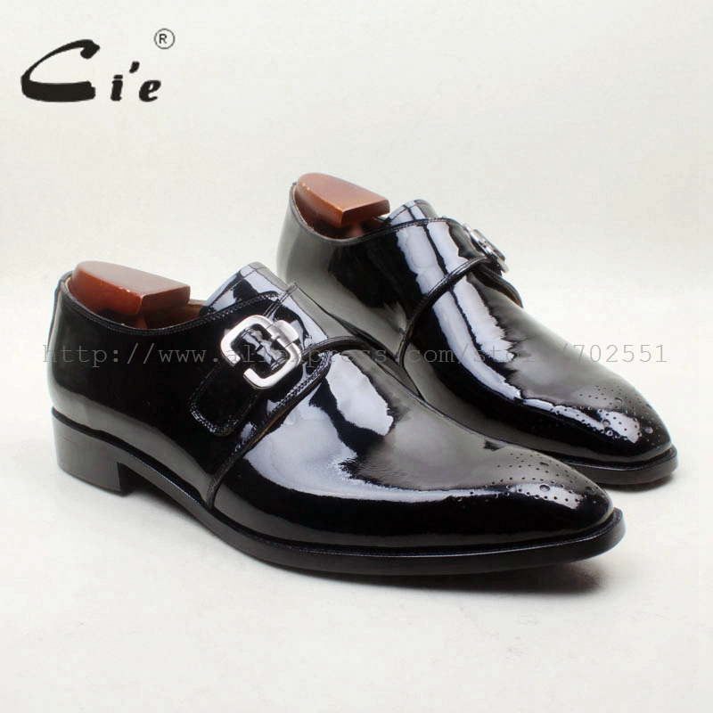 cie Square Toe Cut outs Black Patent 100 Genuine Calf Leather Bottom Breathable Single Monk Straps