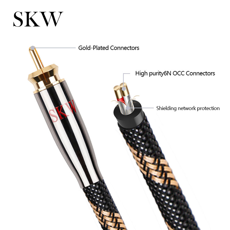 Image 2 - SKW RCA Audio Cable Male To Male Subwoofer Digital Coaxial 6N OCC 1M,1.5M,2M,3M,5M,8M,10M,12M,15M For Car Subwoofer Amplifier