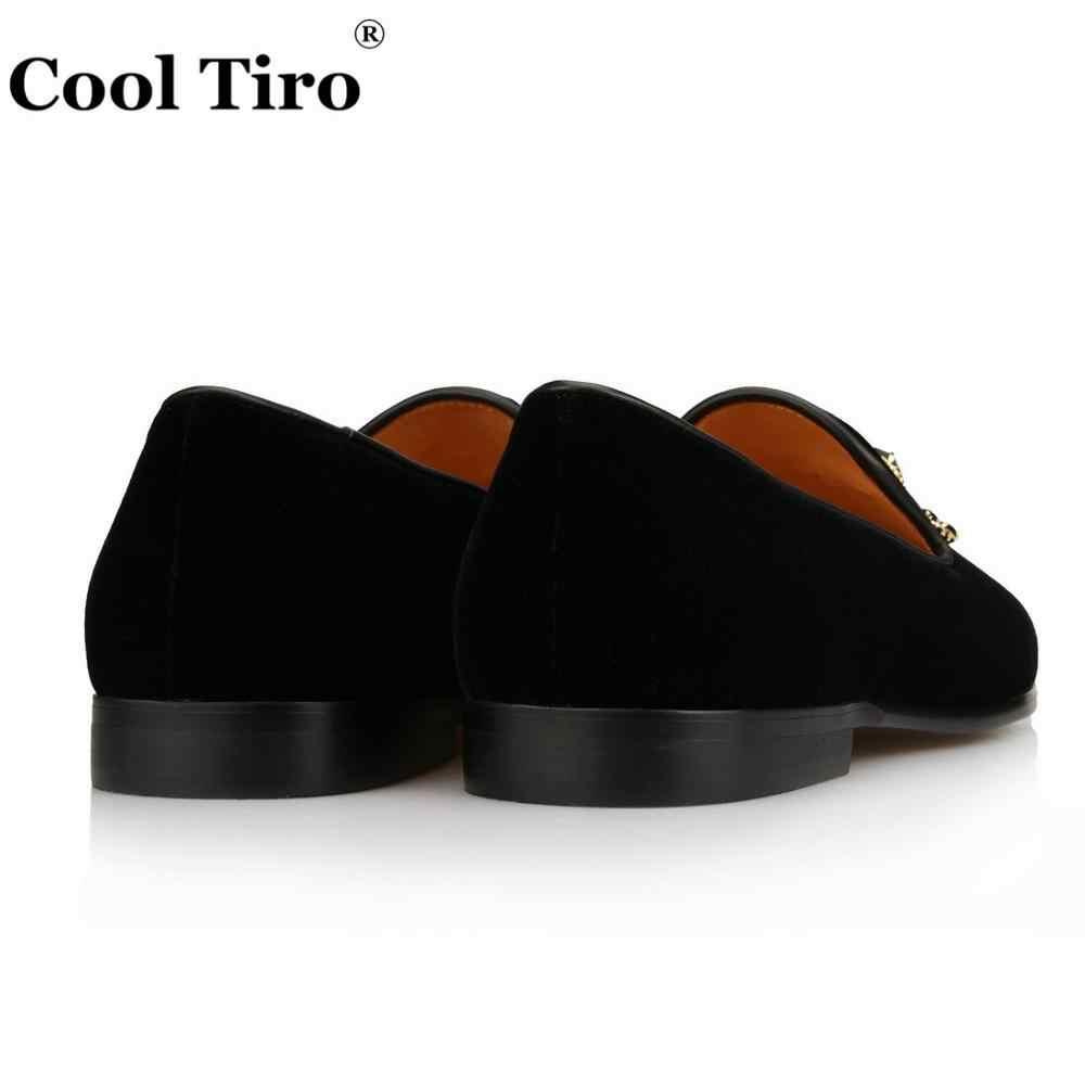 211050b831163 ... Cool Tiro Men's Velvet Shoes Crystal Brooch Tassels Loafers Men Dress  Shoes Smoking Slippers Moccasin Real