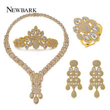 NEWBARK Wedding Brides Jewelry Sets Gold-color Vintage Wheat Zirconia Four Items Ring Earrings Bracelet Necklace Free Box
