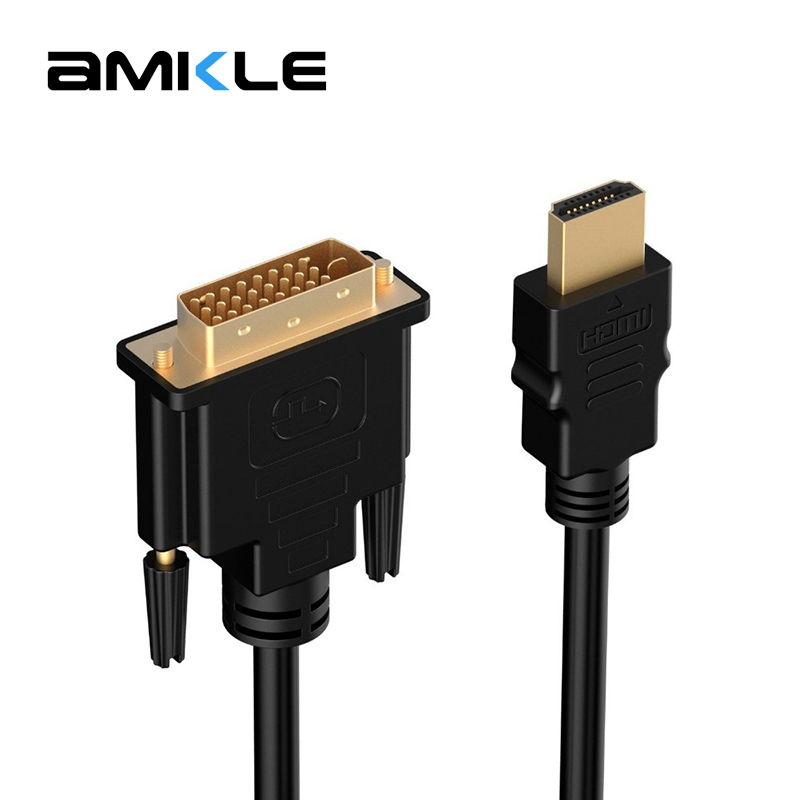 Amkle HDMI to DVI Cable 1m 2m 3m 5m 24+1 Pin Adapter Cables 1080p for LCD DVD HDTV XBOX PS3 High Speed HDMI to DVI Cable Adapter
